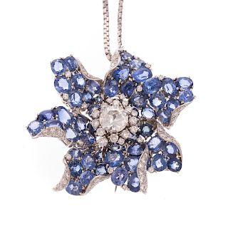 An Important Art Deco Diamond & Sapphire Pendant