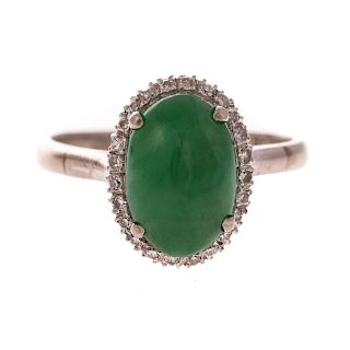A Ladies 14K Bright Green Jade & Diamond Ring