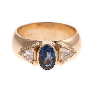 A Ladies Custom Made Sapphire & Diamond Ring