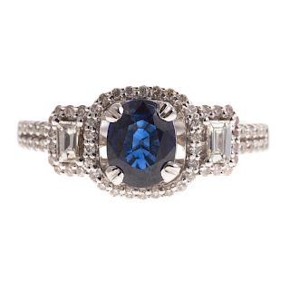 A Ladies Sapphire & Diamond Ring in White Gold