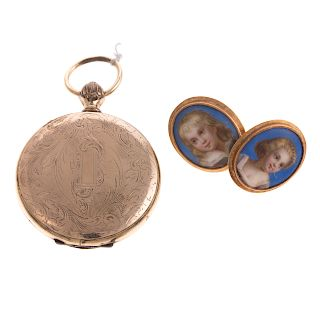 A Pair of Hand Painted Victorian Earrings & Locket