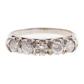A Ladies Vintage Diamond Wedding Band in 14K