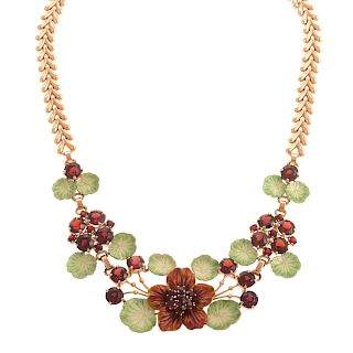A Ladies Garnet and Enamel Floral Necklace in 14K