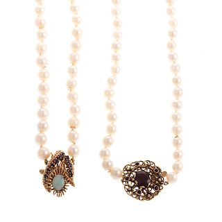 Two Ladies Cultured Pearl Necklaces with 14K