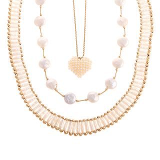 A Trio of Ladies Freshwater Pearl Necklaces in 14K