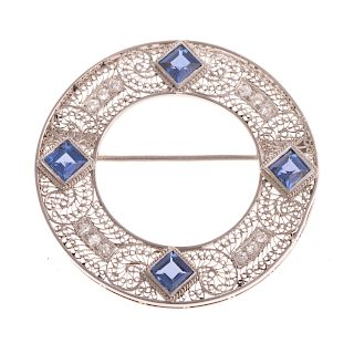 A Ladies Circle Sapphire & Diamond Filigree Brooch