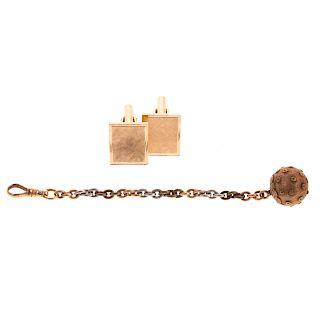 A Pair of 14K Cufflinks & Pocket Watch Chain