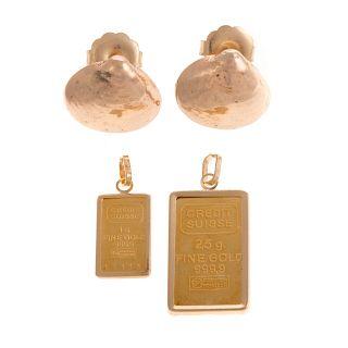 A Pair of 14K Shell Earrings and 2 Ingot Pendants
