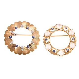 A Pair of Ladies 14K Open Circle Sapphire Pins