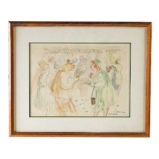 """Aaron Sopher. """"Betting Window,"""" watercolor"""