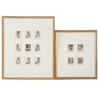 Morris Henry Hobbes. 13 miniature etchings