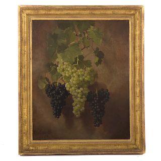 "Edward Chalmers Leavitt. ""Hanging Grapes,"" Oil"