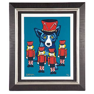 George Rodrigue. Blue Dog with Nutcrackers
