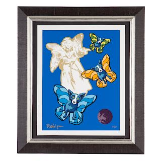 George Rodrigue. Blue Dog with Angels, serigraph