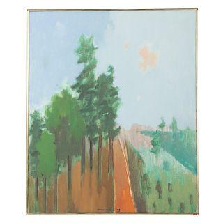 "Herman Maril. ""Mountain Road,"" oil on canvas"