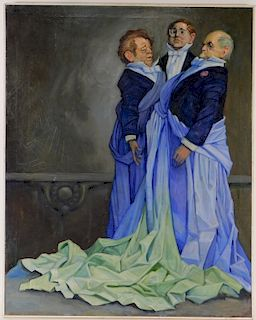 European New Objectivity Painting of 3 Aristocrats