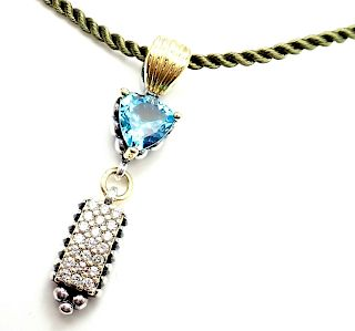 Lagos Caviar 18k Yellow Gold Silver Blue Topaz Diamond