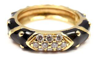 HIDALGO 18K GOLD DIAMOND BLACK ENAMEL STACKABLE BAND