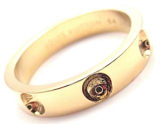 LOUIS VUITTON EMPREINTE 18K YELLOW GOLD SMALL BAND RING
