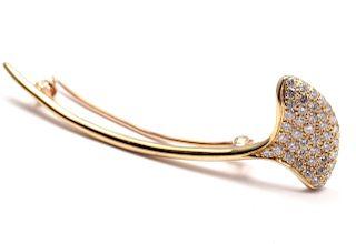 Tiffany & Co 18k Yellow Gold Diamond Flower Pin Brooch