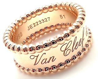 Van Cleef & Arpels 18k Rose Gold Perlee Band Ring Size