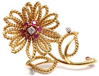 Tiffany & Co 14k Yellow Gold Diamond Ruby Flower Brooch