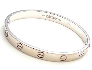 CARTIER 18k White Gold Love Bangle Bracelet 1993 Size