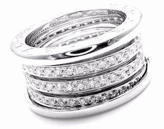 Bulgari B-Zero 18k Pave Diamond Four Band Ring.