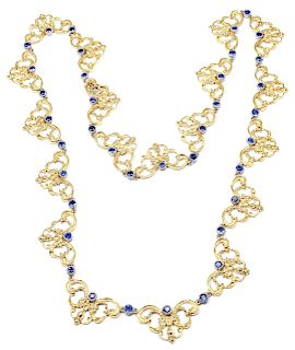 "Buccellati 18k Yellow Gold Sapphire 24"" Long Necklace"