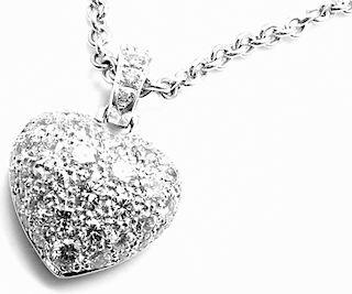 Cartier 18k White Gold Diamond Large Heart Pendant