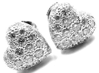 Cartier 18k White Gold 1ct Pave Diamond Heart Earrings