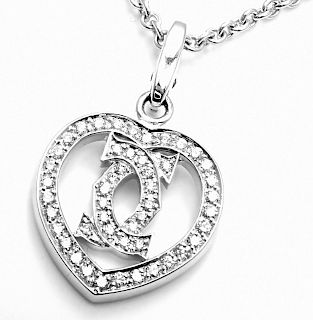 Cartier 18k White Gold Diamond Heart Double C Pendant