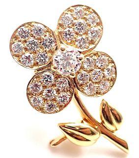 Van Cleef & Arpels Diamond 18k Yellow Gold Flower Pin