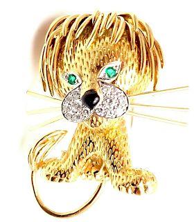 Van Cleef & Arpels Lion Ebouriffe 18k Diamond Emerald