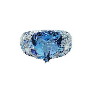 John Hardy 18k White Gold Diamond & Blue Topaz Ring
