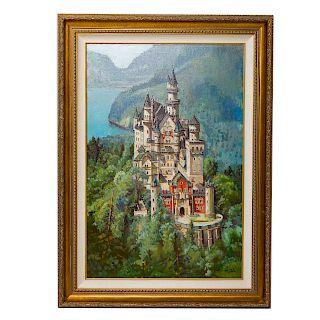 Fil Mottola. Neuschwanstien Castle, oil on canvas
