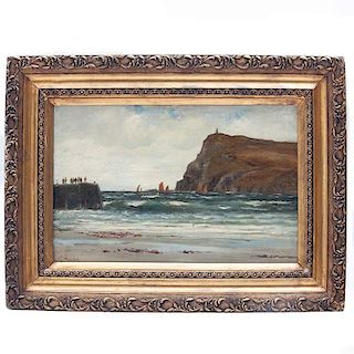 Richard Wane. Siglo XIX. Marina con veleros y faro. Óleo sobre tela. Firmado. Enmarcado.