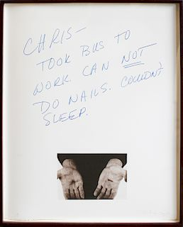 Chris Burden, Untitled (Chris - Took Bus to Work. Can not do Nails. Couldn't sleep), 1974