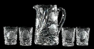 Cut Glass Hawkes Pitcher, Four Tumblers