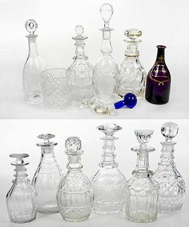 Assembled Group Ten Cut Glass Decanters