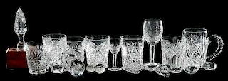 23 Cut Glass Table Items, Glasses & Stopppers