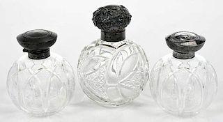 Three Cut Glass Perfumes, English Silver Caps