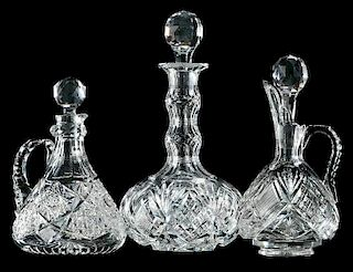 Two Cut Glass Decanters and a Whiskey Jug