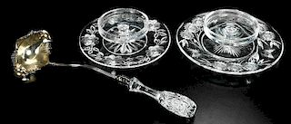 Cut Glass Punch Ladle, Cheese and Cracker Trays