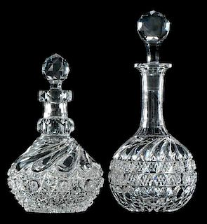Two J. Hoare Cut Glass Decanters