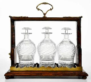 Bronze Mounted Tantalus with Cut Glass Decanters