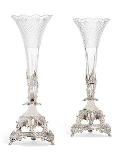 A pair of English silverplate  vases