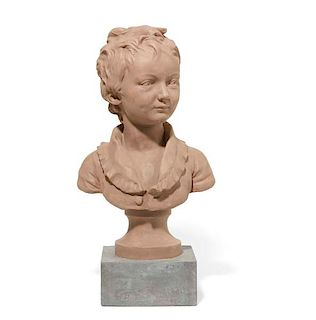A French painted terracotta bust of a boy, Houdon