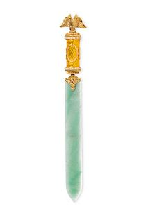 A gilt metal, enamel and hardstone paper knife