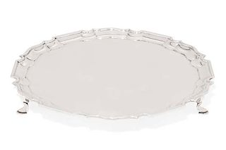 An Edward VII sterling silver footed salver